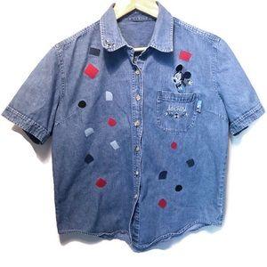 Tops - Vintage Mickey Mouse Denim Shirt - Handmade!
